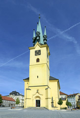 Pribram - the main square and Dean church of St. James, Czech