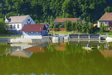 Fishing on the river Berounka, near the town Nizbor, Czech