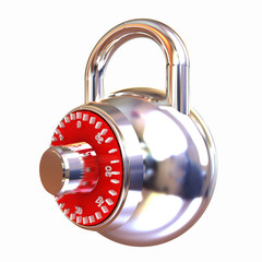 Illustration of security concept with chrome locked combination