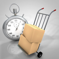 3d render cartons and stopwatch