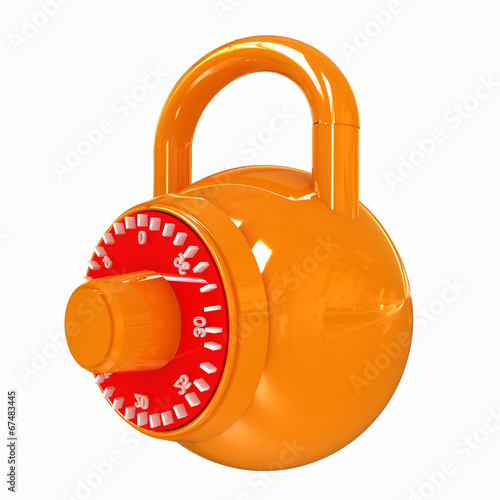 Leinwanddruck Bild Illustration of security concept with glossy locked combination
