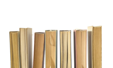 Row of books, isolated on white background