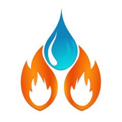 logo plombier chauffagiste flamme et goutte d'eau