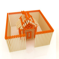 Log house from matches pattern