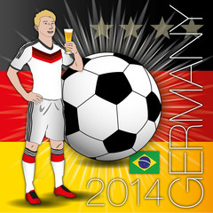 germany flag, player, beer and ball, 2014