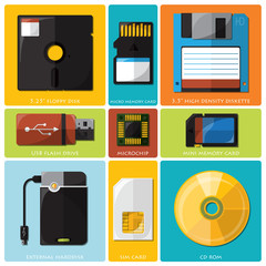 Memory Tools Flat Icon Set