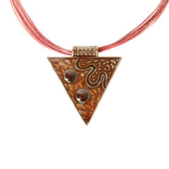 Enameled pendant shaped like triangle over white