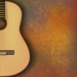 abstract grunge music background with guitar on brown