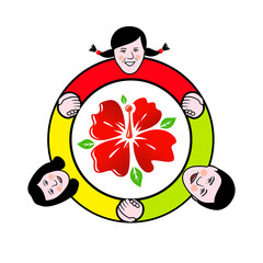 Family circle around the flower sign