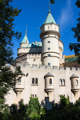 Bojnice castle between the trees