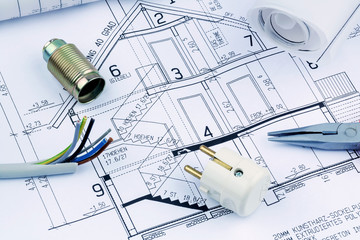 Bauplan für ein Haus. Elektrik