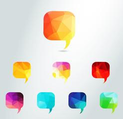 Abstract Vector colour triangle Speech Bubbles Set