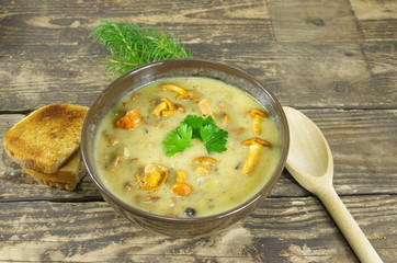 cream soup with chanterelle