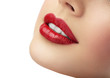 canvas print picture - Beautiful girl with A red lips and white teeth