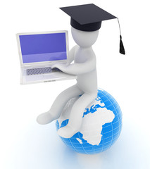 3d man in graduation hat sitting on earth and working at his lap
