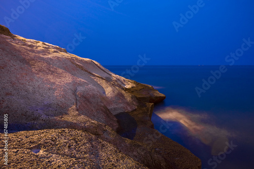 Night view of the stone beach in Tenerife
