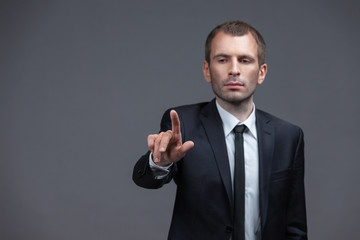 Portrait of manager pointing hand gestures, isolated