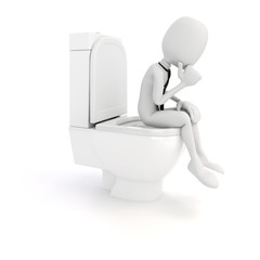 3d man businessman on toilet