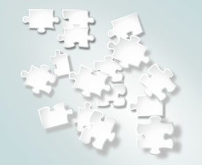 Abstract white puzzle pieces on gradient background