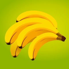 Bunch of fresh bananas at colored background