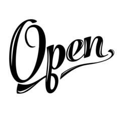retro open sign on white