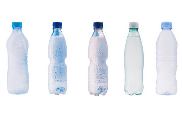 Set of images of plastic bottles of water isolated on white