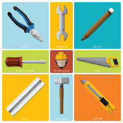 Technician And Equipment Tools Flat Icon Set