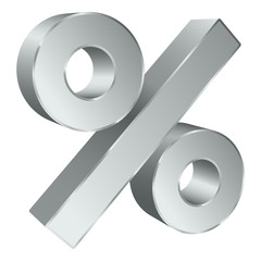 Sale Silver Percent Sign 3D Angled