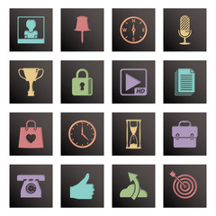black square media icons