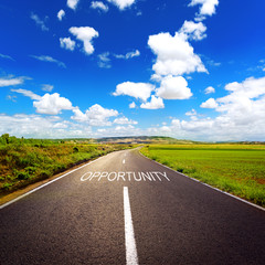 Concept of direct road to opportunity and success.