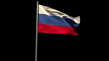 Russia national flag waving on flagpole