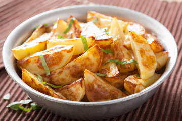 baked potato wedges in bowl