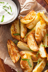 baked potato wedges with yogurt dip