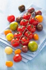 colorful tomatoes over blue napkin