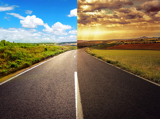 Concept of crossroad for new or old life.