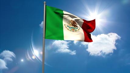 Mexico national flag waving on flagpole