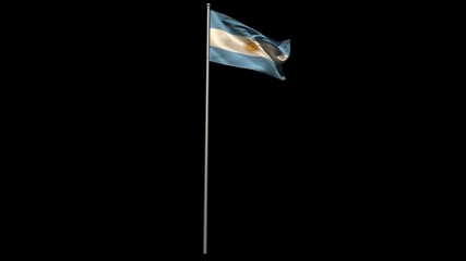 Argentina national flag waving on flagpole
