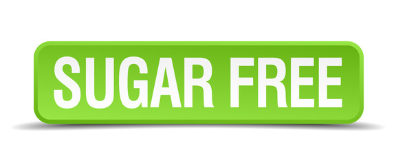 Sugar free green 3d realistic square isolated button