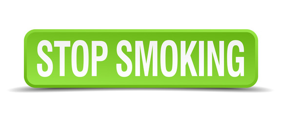 Stop smoking green 3d realistic square isolated button