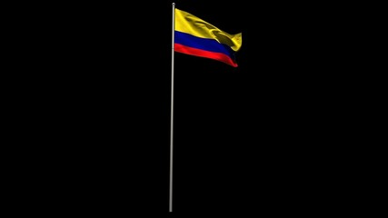 Colombia national flag waving on flagpole