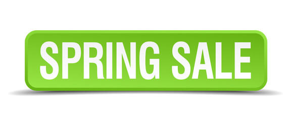 Spring sale green 3d realistic square isolated button