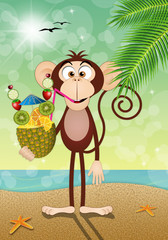 Monkey with pineapple on the beach