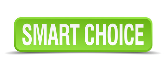 Smart choice green 3d realistic square isolated button