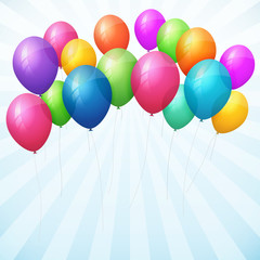 empty birthday background with colorful balloons