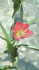 Vector illustration of flowers red tulip.