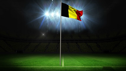 Belgium national flag waving on flagpole