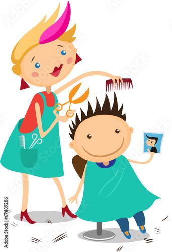 Fototapeta Illustration of a boy at the hairdresser