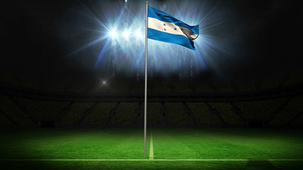 Honduras national flag waving on flagpole