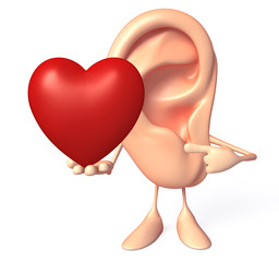 Ear character with red heart