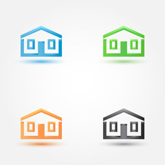 Abstract house real estate symbol - vector building (house) silh